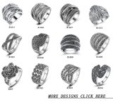 Marcasite ha ossidato l'anello d'argento del costume dell'annata dell'anello