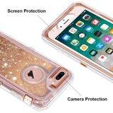 iPhoneのための1つのハイブリッド頑丈な擁護者の例のきらめく浮遊液体のきらめきの保護堅いシェル耐震性TPUカバーに付き3つ7 Plus/8と