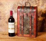 Style antique en bois chaud tous les couvrir avec le cuir Double boîte de Vin, vin Portable Case de haute qualité