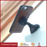 Caja del teléfono del grano del cocodrilo del cuero genuino con la barra magnética adentro