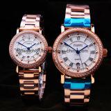 Nam de Gouden Geplateerde Horloges van het Paar van het Roestvrij staal voor Minnaars toe