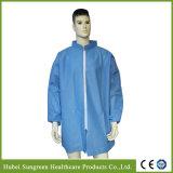 Пальто лаборатории SMS устранимое голубое с застежкой -молнией