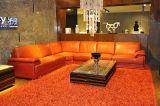 Grande sofà d'angolo italiano del cuoio genuino del salone (H-3016)