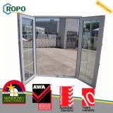 Дверь PVC двойная застекленная стеклянная, конструкция двери безопасности с решеткой
