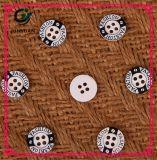 Botão de resina Preto e branco Botão de quatro furos Fivela redonda