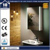 LEDライトが付いている熱い販売MDFによってつけられる浴室ミラーのキャビネット