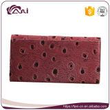 Carpeta de cuero de las mujeres de la elegancia de la PU de la piel de la avestruz del diseño de la manera