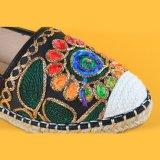 Dame-schwarze flache eingebrannte Stickerei-Ebene-Schuh-Espadrilles