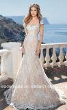 O tampão Sleeves o vestido de casamento H18207 do laço de Champagne dos vestidos nupciais