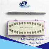 Individu orthodontique ligaturant les outils ouverts de bride