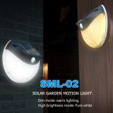 Blanco Solar LED Elegante PIR Sensor Hotel lámpara de pared Fixture 2W