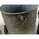 Antique Blue Tin Metal Garden Flower Pot