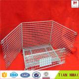 Клетка контейнера стального провода тары для хранения складывая