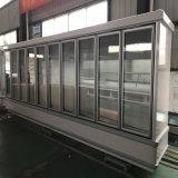 Congelador de la exhibición de la bebida vertical de la temperatura del solo del supermercado con la puerta de cristal