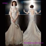 Платье венчания высокого Neckline сексуальное открытое назад с сладостным поездом