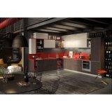 ホームデザイン暗い木製の穀物および白いラッカー食器棚