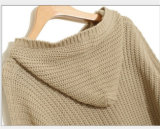Strickendes Hoodie der neuen Entwurfs-Frauen mit Hut-Strickjacke-langer Art Hotsales
