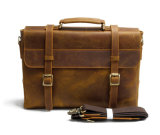 Vintage Brown Men Leather Messenger Sac pour ordinateur portable Porte-documents en cuir