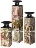 S/3 Flower Vintage Design de mobiliário em madeira MDF/adesivo de papel metálica quadrada do suporte para velas