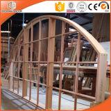 Окно с колониальными штангами, импортированное твердое окно сдобренной/круглой верхней части древесины сосенки, окно ультра большой специальной формы деревянное с конструкцией решетки