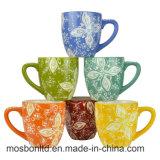 Reeks van 6 Veelkleurige BloemenMokken van de Koffie van het Aardewerk van het Ontwerp/Koppen van Drinkware van de Drank van de Nieuwigheid de Ceramische Hete