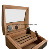 Houten Sigarenkistje 50 van de Luxe van Humidor van het Glas van Sigaren Tellingen met de Snijder van de Sigaar