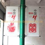 ポスター定着液(BS-HS-033)を広告する金属の街灯