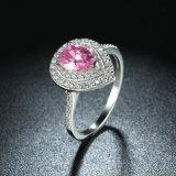 지르콘 하락 모양 반지 보석을%s 가진 925 순은 분홍색 교련