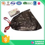 Bolso de basura plástico del lazo del precio de fábrica en el rodillo