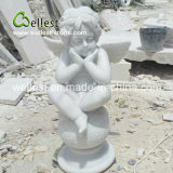Scultura di pietra naturale della pietra di angelo per il giardino e la fontana