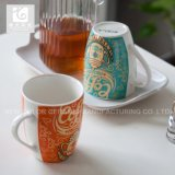 Caneca do chá da caneca da porcelana de China da impressão do decalque