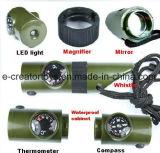 Sieben in einer im Freien Multifunktionsrettungs-Pfeife/in der Pfeife/in der Multifunktionstaschenlampe