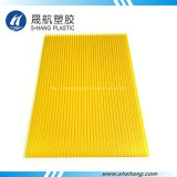 Crystal Yellow Hollow Polycarbonate Roofing Panel com proteção UV