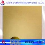 1,4301 1.4404 Espejo Color de la hoja de acero inoxidable con PVC para la decoración