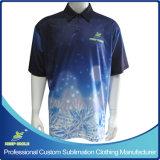 Kundenspezifische volle Sublimation-Prämie Sports Kleid-Polo-Hemd mit Brust-Firmenzeichen