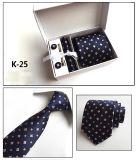 100% personnalisé à la main en polyester tissé avec Cravate boutons de manchette Hanky Box Set (K22/23/24/25)