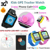Multi-Languages 3G Kids Rastreador GPS assista com Câmara rotativa (D18)