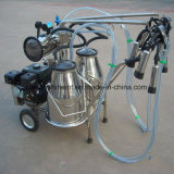 Máquina de ordenha bomba de vácuo a gasolina com barris de Duplo Ordenhador vaca