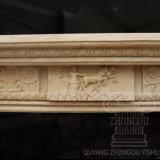 Figura quente escultura do mármore da venda da chaminé de marcial bege de Egipto