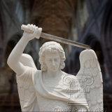 Sculpté à la main de la taille de la vie religieuse Statue en marbre blanc de Saint Michel