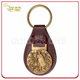 Персонализированный кожаный ключ Fob с античным латунным эмблемой выбитой металлом