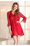 """Pijamas de seda """"sexy"""" Sy10306339 do laço das mulheres por atacado do Nightwear da roupa de noite"""
