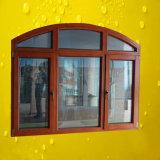 Haut de la fenêtre plaqués bois voûté en aluminium