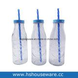 350ml型のふたおよびわらとセットされるガラスミルクびん