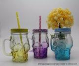 Tazza calda del muratore di vendita, tazza di vetro, vaso di muratore con la maniglia e paglia