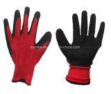 """Красный полиэстер нейлон черного латекс """"мятым"""" эффектом покрытием перчатки с маркировкой CE"""