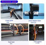 Auto CCD die de Dubbele Hoofd Scherpe Machine van de Laser van Co2 van het Flard van de Stof Etiketten Geweven plaatst