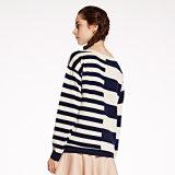 女性の新しいデザインカシミヤ織のセーターの円形の首のストリップの卸売OEM