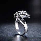 Aleación de moda en esmalte negro Crystal solo Damas Anillo de dedo