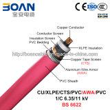 Cu/XLPE/Cts/PVC/Awa/PVC, cabo distribuidor de corrente, 6.35/11 quilovolts, 1/C (BS 6622)